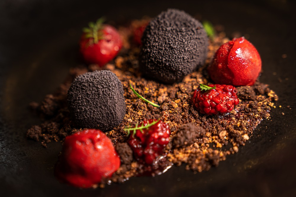 Autumn - Chocolate with truffle, caramelized cocoa beans, lactofermented blackberries